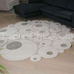 Tapis Rond Noir Et Blanc : tapis rond en laine beige par ligne pure 230 cm de diam ~ Dailycaller-alerts.com Idées de Décoration