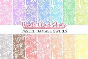 pastel damask swirls digital paper swirls pattern