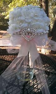 Square Pearls & Lace Bouquet | Lace bouquet, Wedding ...