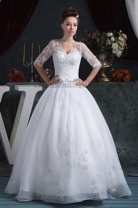 floor length ball gown  neck lace wedding dresses