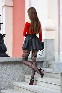 Those Patterned Tights Make Her Lovely Legs Look Even