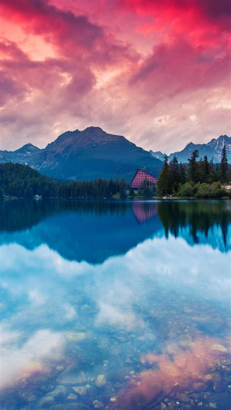 wallpaper lake mountains reflections tatra national