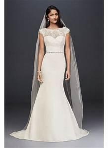 satin and illusion lace mermaid wedding dress david39s bridal With david s bridal simple wedding dresses