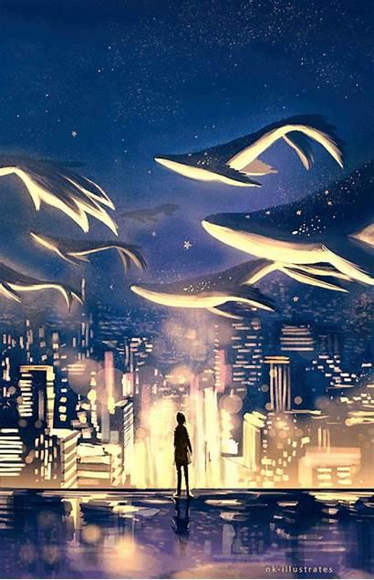 Nk Illustrates Sea Dream Whale Fantasy Anime