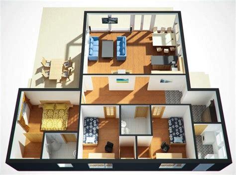 casa en 3d de tres dormitorios y un piso planos de casas