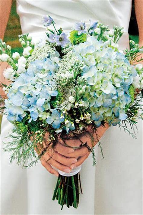 blue hydrangeas bouquet wedding flower