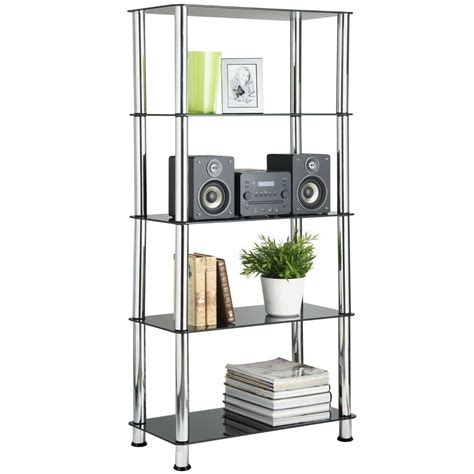 Bookcase Shelving Unit by Vonhaus 5 Tier Bookshelf Black Glass Shelving Unit