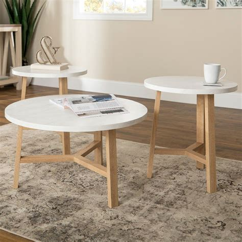The 50 most beautiful coffee tables ever via brit co playroom. 3-Piece Mid Century Modern Accent Table Set in Faux White Marble/Light Oak - Walker Edison ...