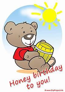 Honey Bear - Happy Birthday clip art free