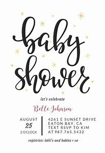 Hand Lettering Baby Shower Invitation Template Free