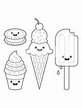 Ice Cream Coloring Easy Cool sketch template