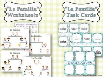 la familia family tree task cards family tree