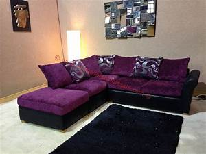 Oscar purple and black corner sofa with floral pattern and for Floral sofa bed