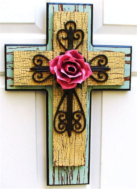 rustic greenyellow stacked wooden cross  brown iron