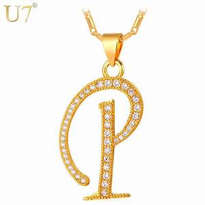 u7 capital initial letter p necklace women men jewelry new With gold letter p pendant