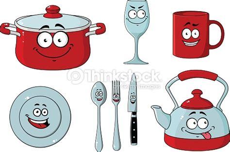 set couteau cuisine dessin animé ensemble de vaisselle et dustensiles de