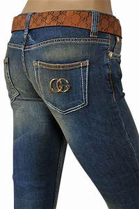 Womens Designer Clothes | GUCCI Ladies Boot Cut Jeans With Belt #65
