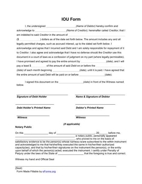 iou contract form free i owe you iou template pdf eforms free