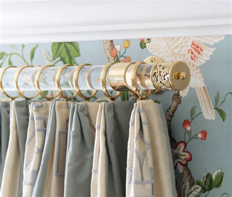 custom lucite curtain rod w polished brass brackets lattice
