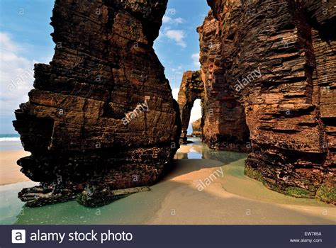 Spain Galicia Impressing Rock Arc At Cathedral´s Beach