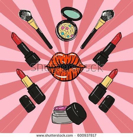 Hand Drawn Make Beauty Products Cartoon Stock Vector