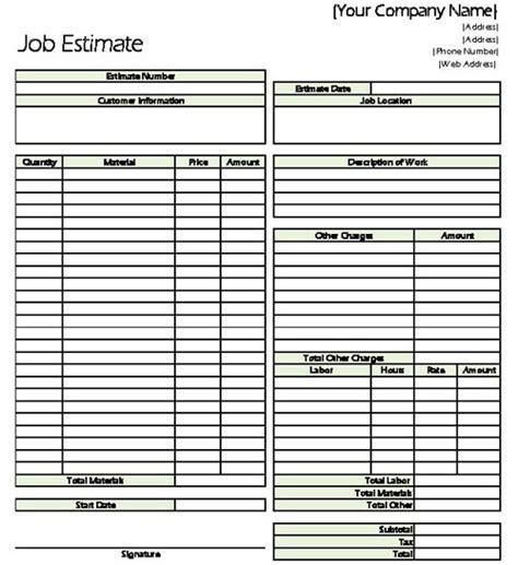 contractor estimate template classic estimate sheet for contractors