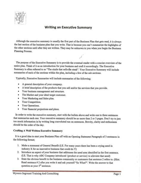 What To Write In An Executive Summary For A Resume writing an executive summary