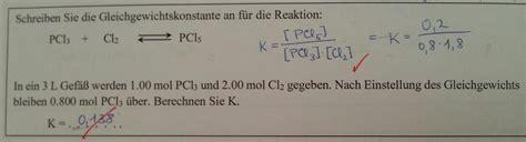 frage zur berechnung von gleichgewichtskonstante chemie