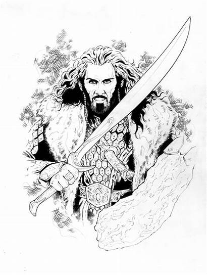 Hobbit Coloring Pages Adult Thorin Tolkien Smaug