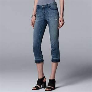 Women 39 S Simply Vera Vera Wang Release Hem Midrise Capri Jeans