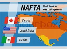 Vector concept infpgraphic of NAFTA concept with flags and