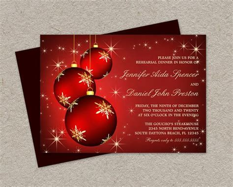diy printable christmas rehearsal dinner invitation with