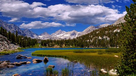 Beautiful Landscape Scenery River Grass, Mountains And