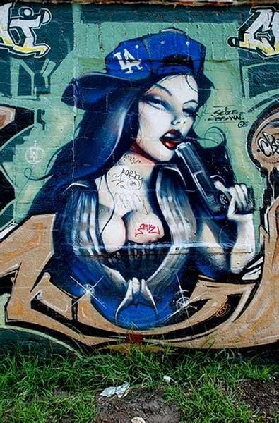 graffiti characters street art sexy grils  gun
