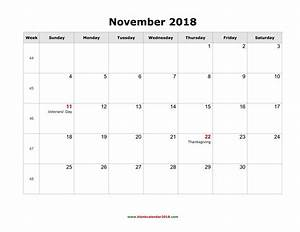 november 2018 calendar us holiday