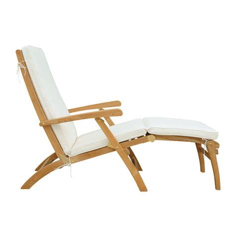 chaise bain de soleil chaise longue en teck massif l 170 cm olé maisons du monde