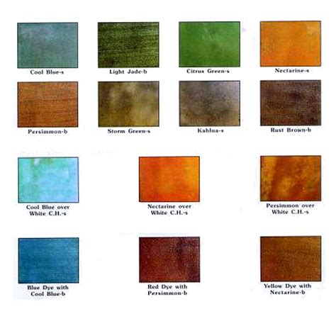 rust oleum concrete stain color chart water based stain