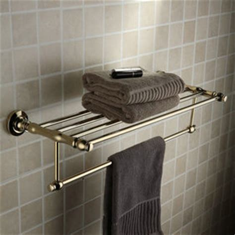 antique brass ti pvd wall mounted bathroom shelf with