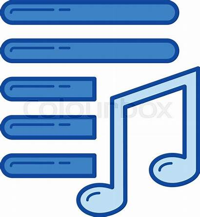 Playlist Icon Line Isolated Colourbox