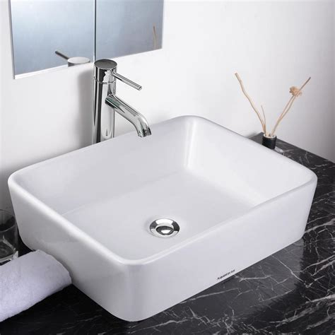 Bathroom Basin Sink by Aquaterior White Porcelain Ceramic Bathroom Vessel Sink
