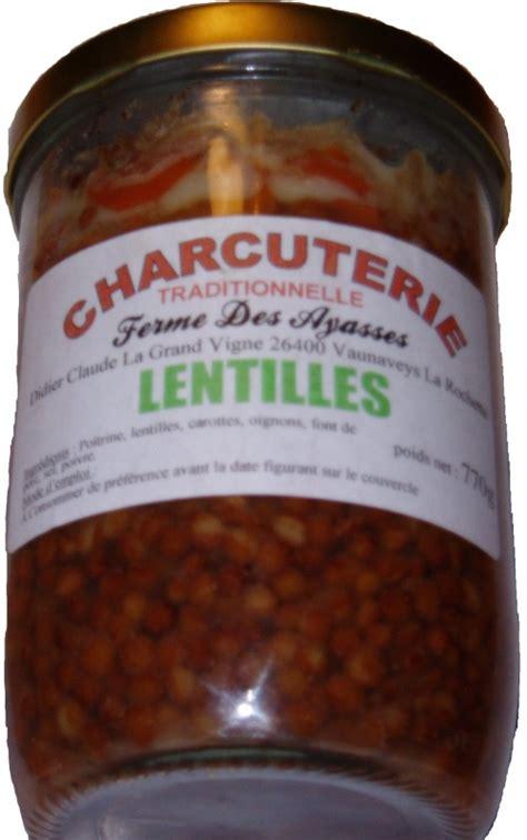 lentilles cuisin馥s plats cuisinés ferme des ayasses charcuterie traditionnelle dans la drôme vaunaveys la rochette vente en ligne et à la ferme de