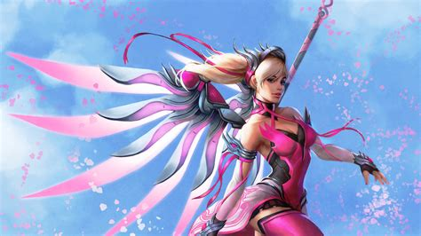 pink mercy overwatch wings fantasy digital art