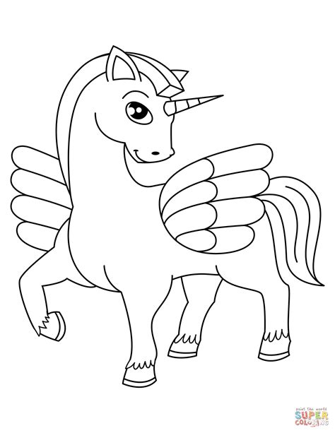 cute winged unicorn coloring page  printable