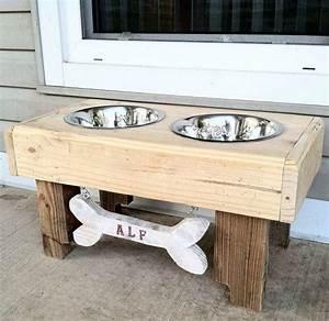 52 best pallet furniture images on pinterest wood pallet With dog bowl furniture