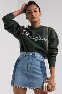 Champion Womenu0026#39;s Fleece Lined Long Sleeve Crew Neck Script Sweatshirt in Black Forest Grove