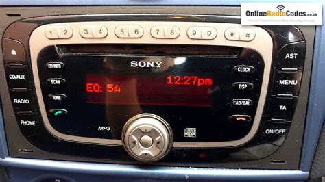how to find ford radio code serial from the radio s display sony visteon