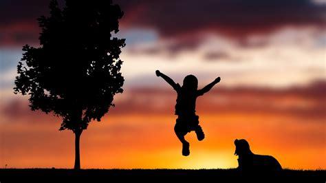 wallpaper playing kid happiness mood sunset dog