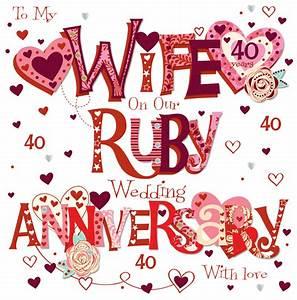wife ruby 40th wedding anniversary greeting card cards With images of 40th wedding anniversary cards