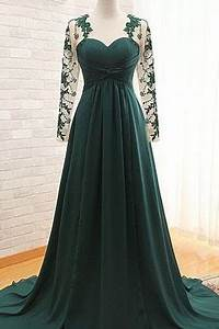 Elegant Dark Green Long Sleeve Prom Dresses Evening Gown