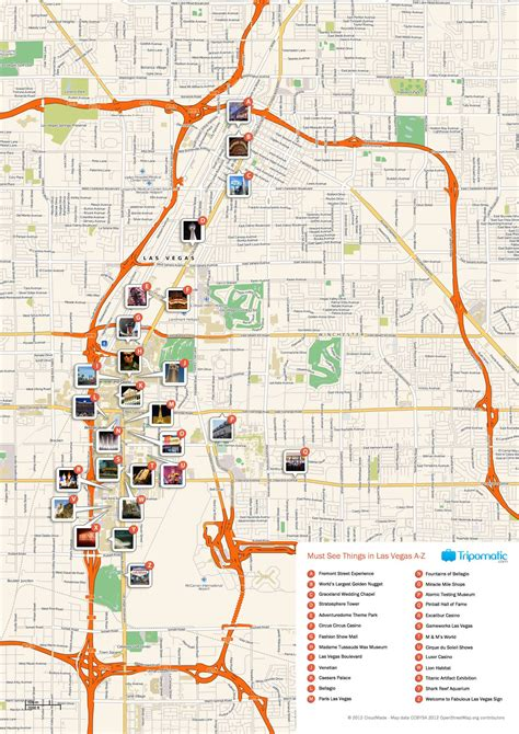 printable map  las vegas attractions